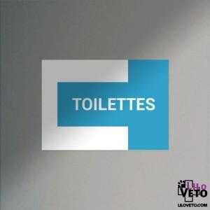 PANNEAU TOILETTES CROIX CYAN