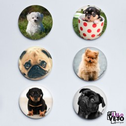 LOT 6 MAGNETS PETITS CHIENS